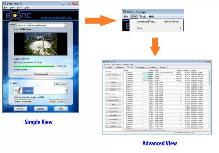 Showing how to go from Simple View to Advanced View.